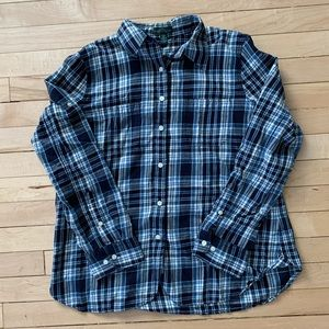 Navy Plaid Women's Casual Button-Up